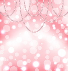 Cute pink background with pearls