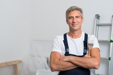 Portrait Of Happy Painter
