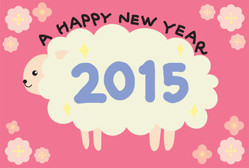 A happy new year 2015, sheep and flower