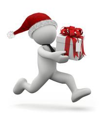 omino bianco che corre con un regalo