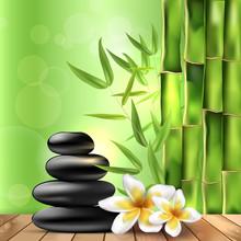 Bambou, fleurs de frangipanier et pierres - spa fond