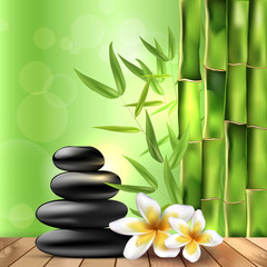 Bamboo, frangipani flowers and stones - spa background