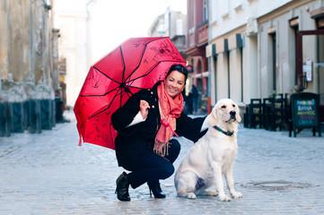 Pretty woman with dog portrait