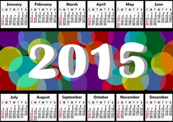 2015 horizontal annual calendar with rainbow bubbles