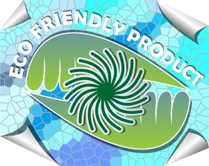 Label for eco friendly product in green and blue mosaic design