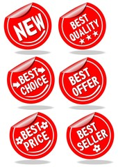 A set of red shopping advertising labels