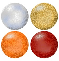 Four cracked balls in silver, gold, orange and red