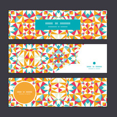Vector colorful triangle texture horizontal banners set pattern