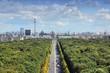 canvas print picture - Berlin skyline with Tiergarten Park