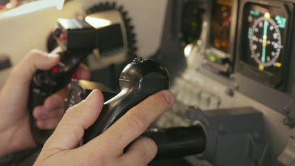 Throttle Flight Controls in Cockpit of Private Jet