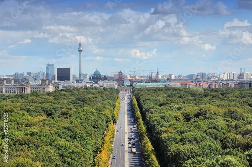 canvas print picture Berlin skyline with Tiergarten Park