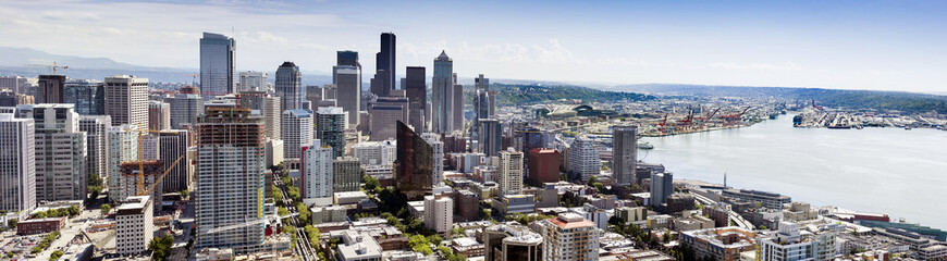 Business Industrial Port Panoramic View of Downtown Seattle