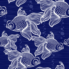 Seamless pattern with fishes.