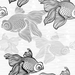 Monochrome seamless pattern with fish.