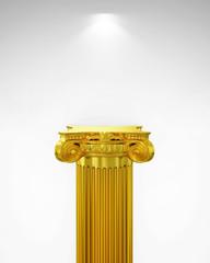 Exhibit Golden Pillar with Light, render
