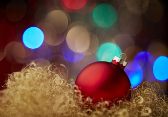 ball red christmas bokeh gold new year