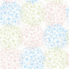 Vector seamless floral pattern with  hydrangeas.