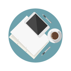 Flat icon for blogger work table