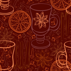 Seamless background with mulled wine and spices. Vector illustra