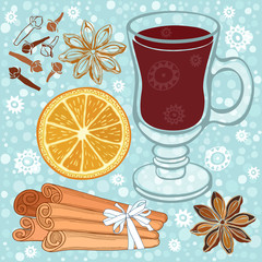 Set of mulled wine, orange and spices. Hand drawn vector illustr