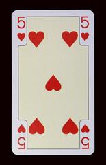 Spielkarten der Ladys - Herz Fünf
