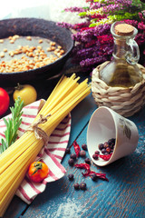 Ingredients for cooking italian pasta, mediterrenean cuisine