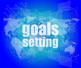 Goal setting concept - business touching screen