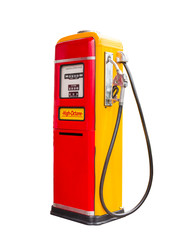 vintage gasoline fuel pump dispenser isolated with clipping path