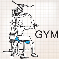 Illustration of muscular man exercising on a lat machine in gym