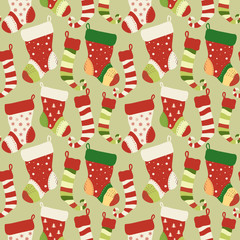 Christmas red and green socks seamless pattern