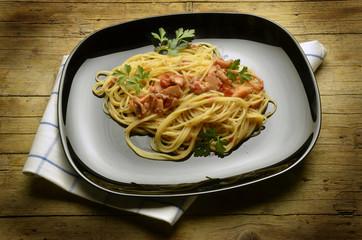Spaghetti with seppie Cucina italiana Food Expo Milano 2015