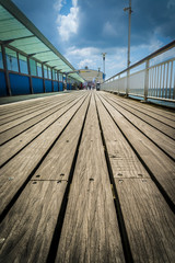 A low angle shot of the pier at Bournemouth