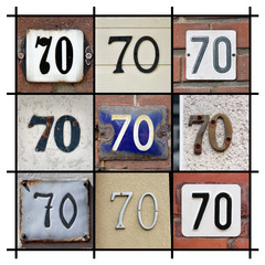 Collage of House Numbers Seventy