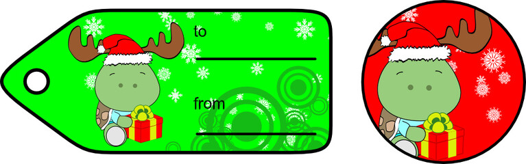 xmas turtle baby cartoon gift card