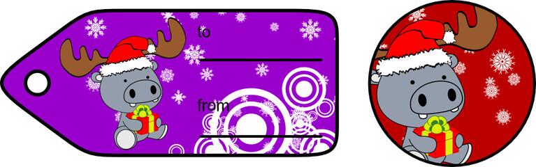 xmas hippo baby cartoon gift card