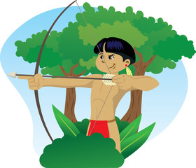 Indian child wielding a bow and arrow in the forest of Brazil.