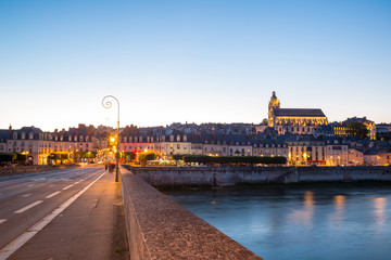 Blois with Cathedral France at dusk