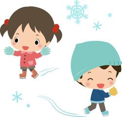 スケートする女の子と男の子