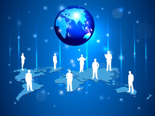 business people  with world map, silhouettes conference concept