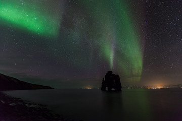 Beautiful Northern light at hvitserkur, Iceland