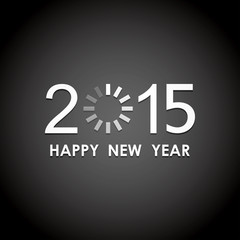 happy new year 2015 with loading icon in black screen background