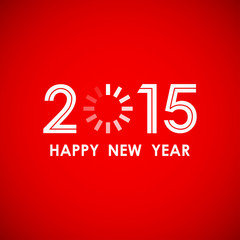 happy new year 2015 with loading icon in red screen background