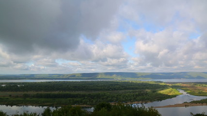 Landscape with clouds over Zhiguli mountains and Volga river nea
