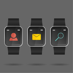 Vector of smart watch with social icon