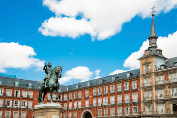 Statue of Philip III on Mayor plaza in the center of Madrid Spai