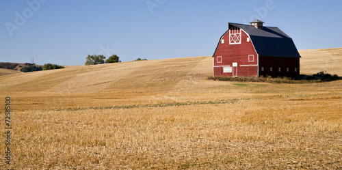 Red Farm Barn Cut Straw Just Harvested