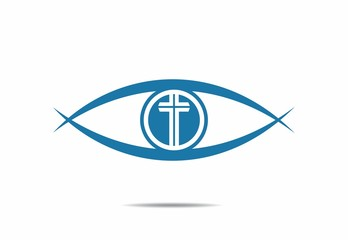 blue eye, faith,cross logo,people, logo, vector