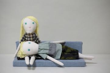 人形 カップル ひざまくら
