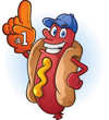 Hot Dog Sports Fan Cartoon