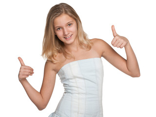Preteen girl with her thumbs up